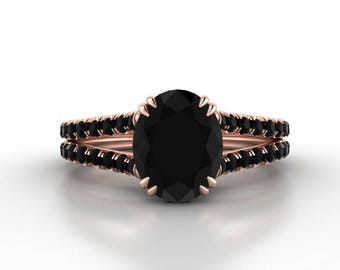 Oval Black Diamond Engagement Ring, Black Diamond Wedding Ring, Split Shank Ring ,18K Rose Gold, White Gold, Yellow Gold  RE0067BK