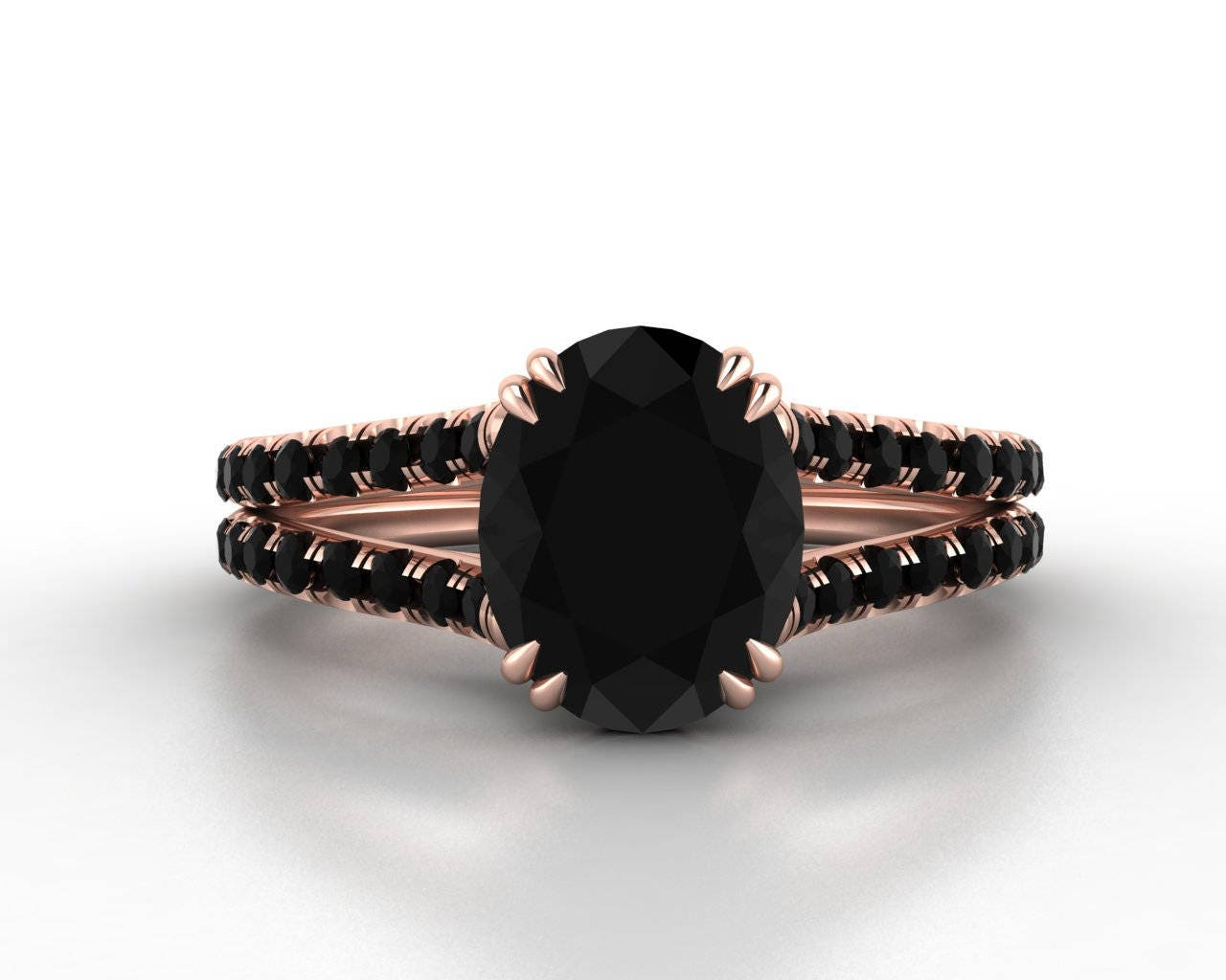 oval black diamond engagement ring, black diamond wedding ring