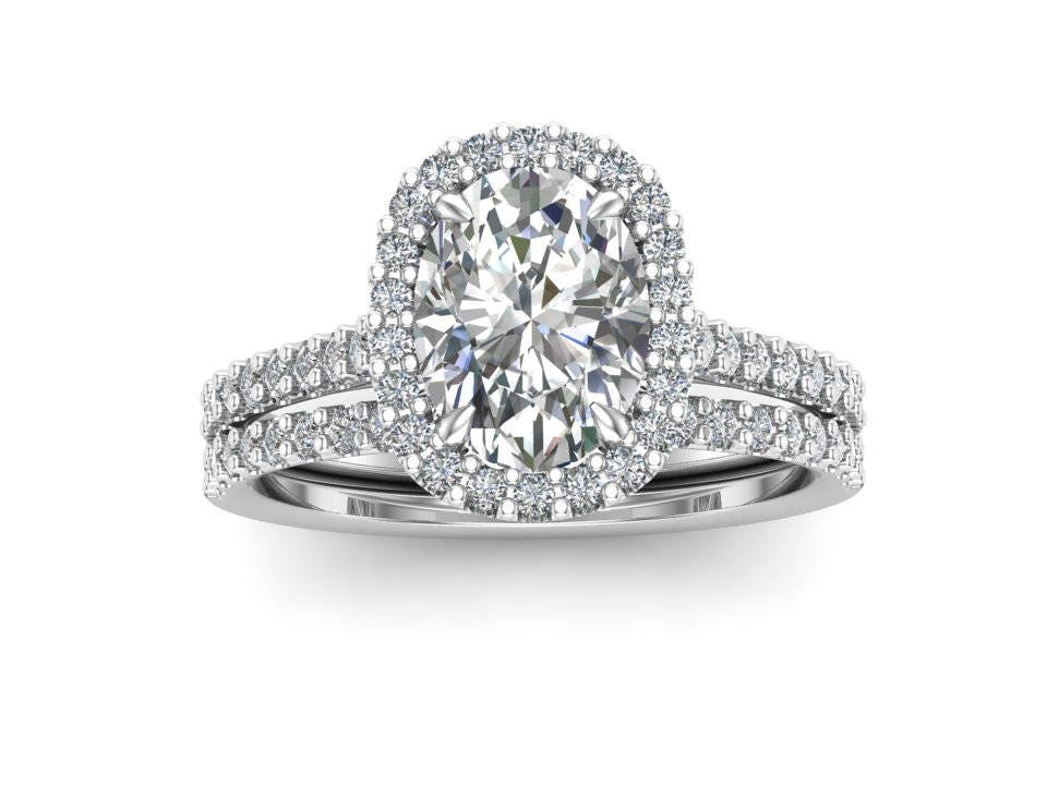 Oval Wedding Ring Set / Halo Engagement Set / 1.50 carat Forever One ...