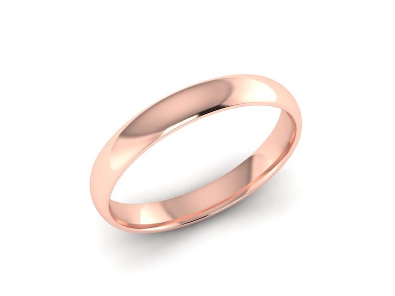 Rose Gold Wedding Band Rounded Plain Band 3.00mm Comfort Fit Polished or Brushed Finish