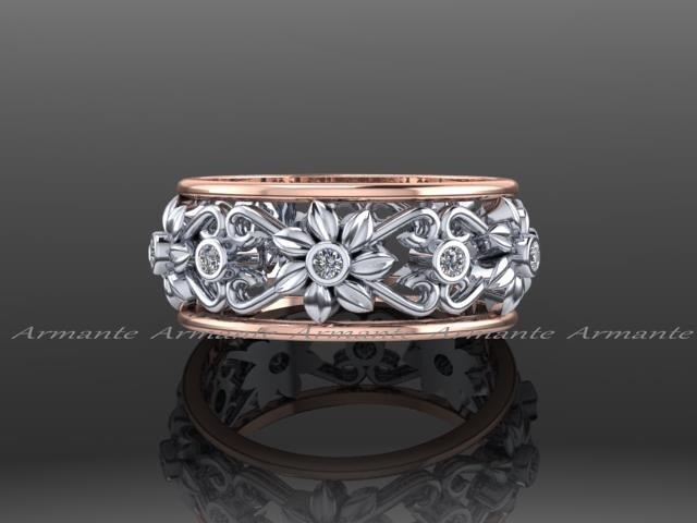 Unique leaf Flower Wedding Band Diamond Band Engagement Ring 14K