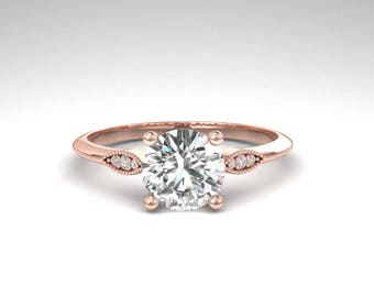 Art Deco Moissanite Engagement Ring, Dainty Diamond Wedding Ring, Charles Colvard Moissanite .80 Carat, Rose Gold, White Gold, Yellow Gold