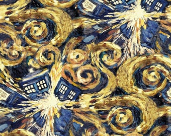 Dr. Who Starry Night Exploding Tardis Fabric