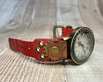 Red and Brown Steampunk watch narrow cuff;  Small to medium wrists; Wrist sizes 5-1/4 to 6-1/2 inches