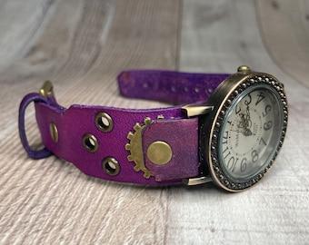Purple Steampunk watch narrow cuff;  Medium to large wrists; Wrist sizes 5-3/4 to 7-1/4 inches