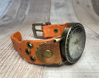 Orange and Brown Steampunk watch narrow cuff;  Small to medium wrists; Wrist sizes 5-1/4 to 6-1/2 inches