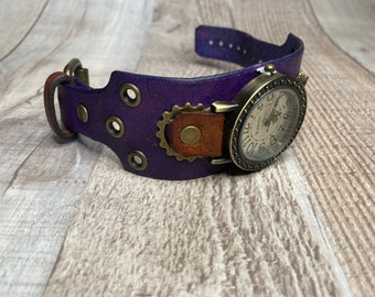 Purple and Brown Steampunk watch wide cuff;  Small to Medium wrists; Wrist sizes 5-3/4 to 7-1/4 inches
