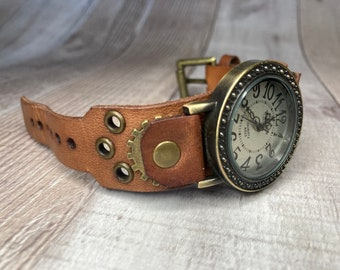 Brown Steampunk watch narrow cuff;  Small to medium wrists; Wrist sizes 5-1/4 to 6-1/2 inches