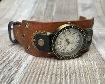 Brown and Black Steampunk watch wide cuff;  Small to Medium wrists; Wrist sizes 5-3/4 to 7-1/4 inches