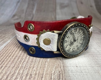 Red White and Blue Steampunk watch wide cuff;  Small to Medium wrists; July 4th; Wrist sizes 5-3/4 to 7-1/4 inches