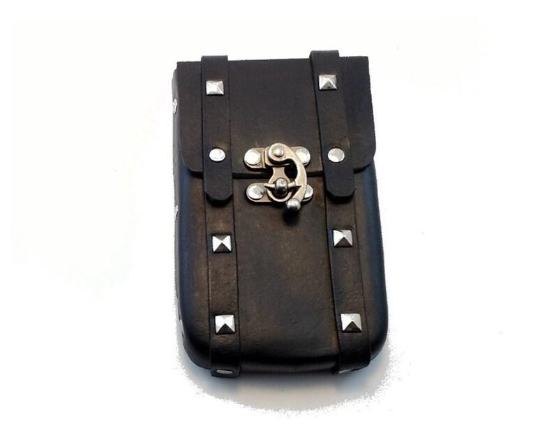 Black Leather Rock Phone Case for Medium Phones card slots image 0