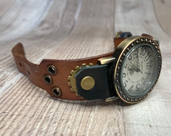 Brown and black Steampunk watch narrow cuff;  Medium to large wrists; Wrist sizes 5-3/4 to 7-1/4 inches
