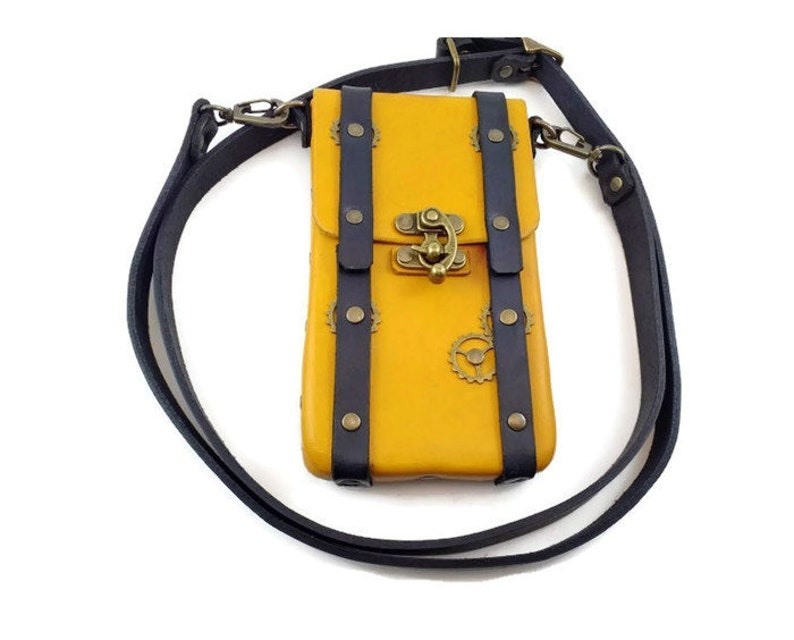 Yellow and Black Steampunk Leather Phone Case Crossbody Strap image 0