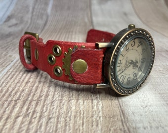 Red Steampunk watch narrow cuff;  Small to medium wrists; Wrist sizes 5-1/4 to 6-1/2 inches