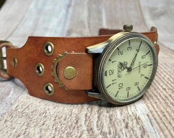 Brown Steampunk watch wide cuff;  Medium to large wrists; Wrist sizes 7.0 to 8-3/4 inches
