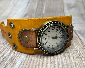 Yellow and Brown Steampunk watch wide cuff;  Small to Medium wrists; Wrist sizes 5-3/4 to 7-1/4 inches