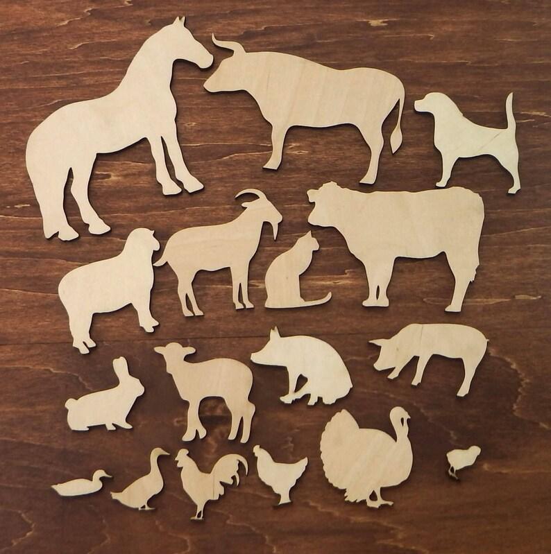 Set Of 17 Wood Farm Animal Cut Outs Farm Animals Craft Etsy