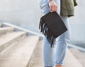 Black Leather Fringe Clutch