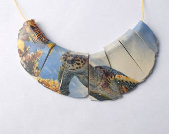 Photorealistic Sea Turtle ,Collage Collar, Large Choker Elements,Ceramic Fragments, indie jewlery supply, Donna Perlinplim, Ceramic Decal