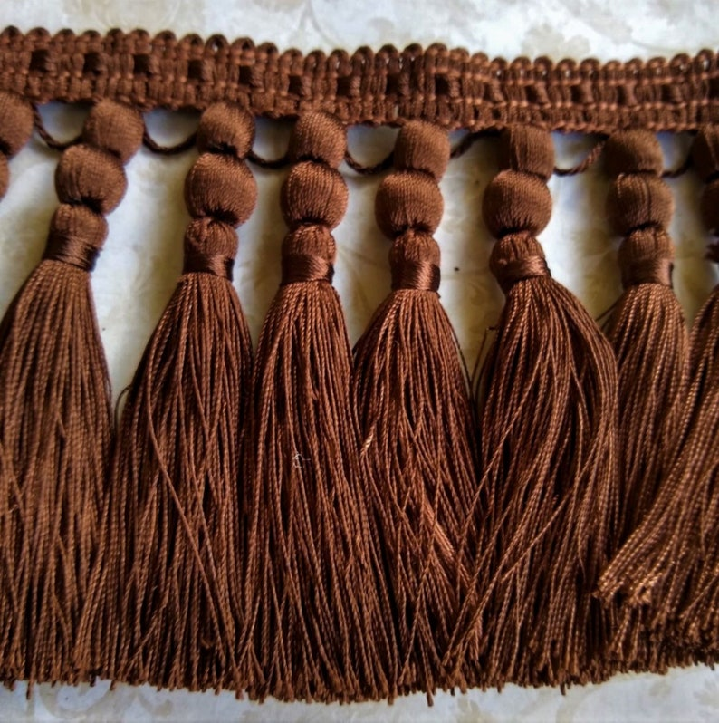Chocolate Brown Home Decor Tassel Trim 4.5 Polyester By The Yard
