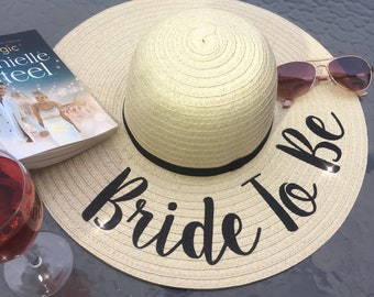 fcb6480b Personalised sun hat wide brim floppy straw cream holiday hendo bride  honeymoon engaged wedding gift beach bridesmaid henweekend