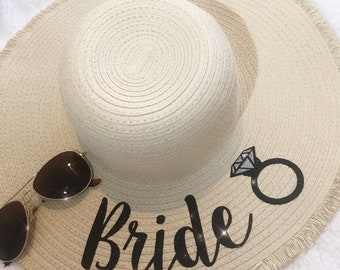 1049a7be75b Glitter name personalised frayed edge floppy sun hat beach bride bridesmaid wedding  hen gift bridesmaids beach cream or black