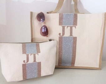 e6279da517f Cream tote shopping beach bags with matching makeup travel bag glitter  personalised wedding bride gift summer bridesmaid gift honeymoon