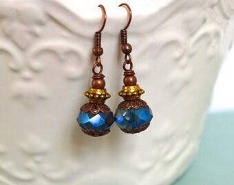 Vintage Blue Earrings. Dangle Earrings. Handmade Earrings. Gift For Women. Gift Under 20 Dollar. Bohemian Earrings. Christmas Gift. Boho.