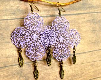 Gypsy Earrings, Purple Earrings, Filigree Lace Earrings, Bohemian Earrings, Boho Earrings, Purple Earrings, Gift For Her, Gift Under 25 .