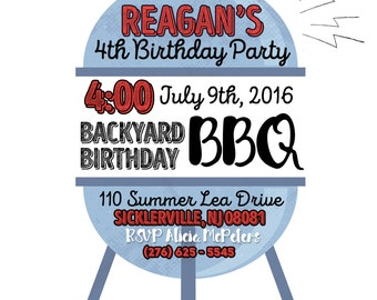BBQ themed birthday INVITATION
