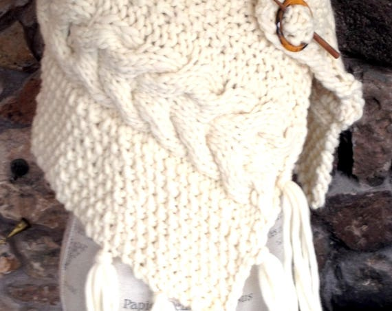 CHUNKY WOOL WRAP hand knitted for a Snow Princess beautiful natural colored fiber with large cables and big tassle fringe for Mountain look