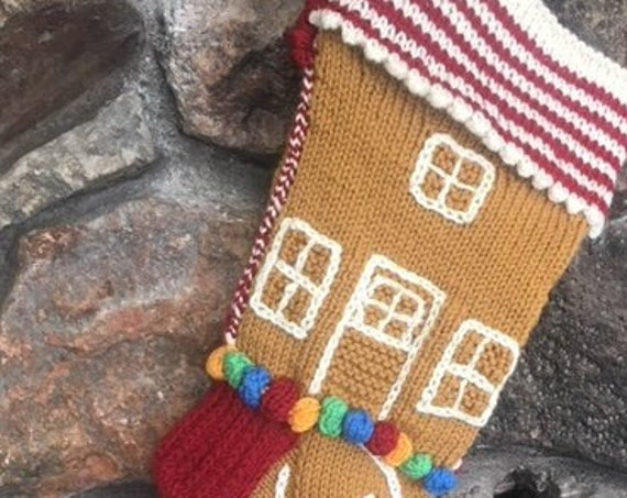 CHRISTMAS STOCKING Gingerbread House Handknitted                  with gumdrops and frosting highlights