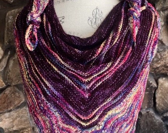 HANDKNITTED MALABRIGO yarn lovely triangle Shawlette with lacy trim    in Winter colors of plums and purples