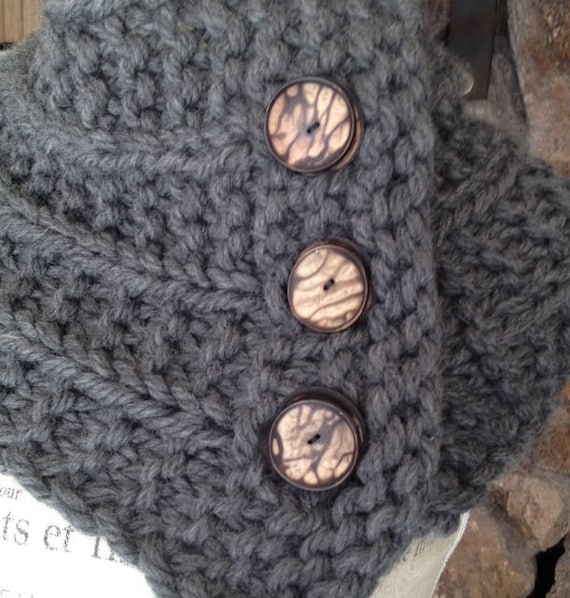 TAHKI YARNS snuggly cowl        with adorable hand made buttons so the temperature can be regulated