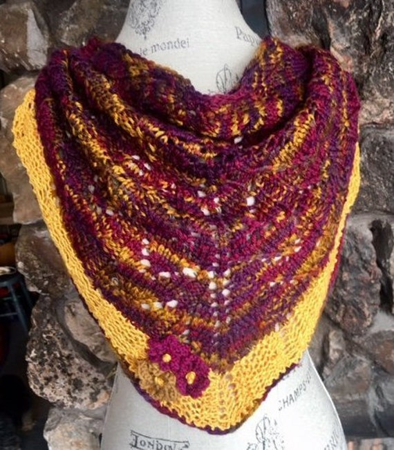 WINTER COLORED SHAWLETTE with  Sunny Silk Border                    trimmed with small blossoms to remind you Spring is coming