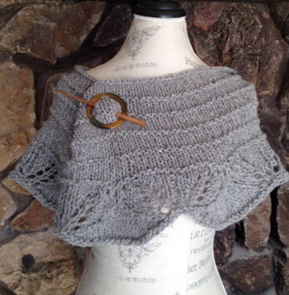 LACE SHOULDER COWL in light grey hand knitted with lace scollops    around the bottom