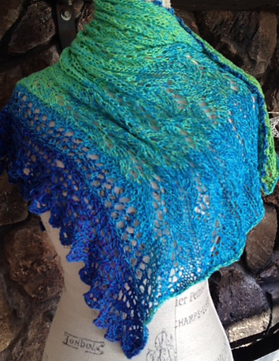 WOOL FREE Lace Neck Warmer named LUMINARI hand Knitted                in gradient colors  from bright greens through blues then purples