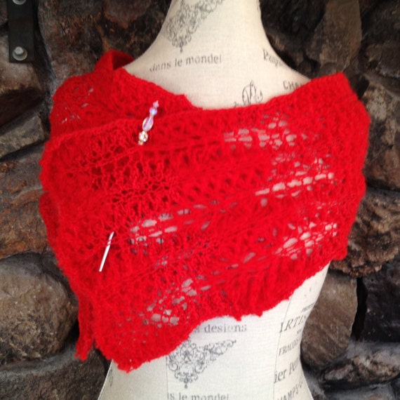 SOLD Infinity scarf red Valentine's gift for wife or girl friend is hand knitted of imported wool in lace to be both warm and not too heavy