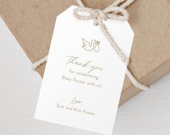 12 Pack - Stork Modern Minimal Baby Shower Favor Tag - Customizable