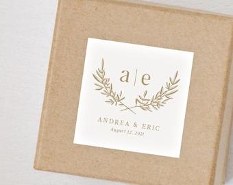 "12 pack - Modern Minimal Wedding Monogram 2"" Sticker - Favor - Invitations - Gifts"