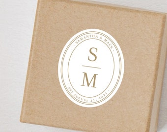 "12 pack -Elegant Modern Wedding Monogram 1.75"" Sticker - Favor - Invitations - Gifts"