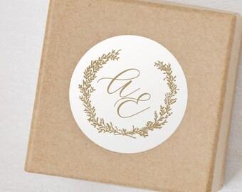 "12 pack - Laurel Wedding Monogram 2"" Sticker - Favor - Invitations - Gifts"