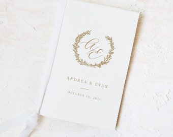 Monogram Handmade Paper Wedding Day Card and Vow Book