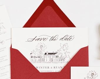 Custom Venue Illustration Save the Date Cards 5x7
