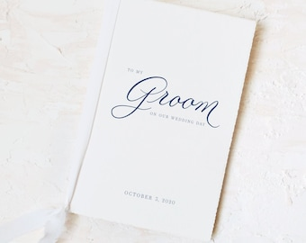 To My Groom on our Wedding Day Handmade Paper Card and Vow Book