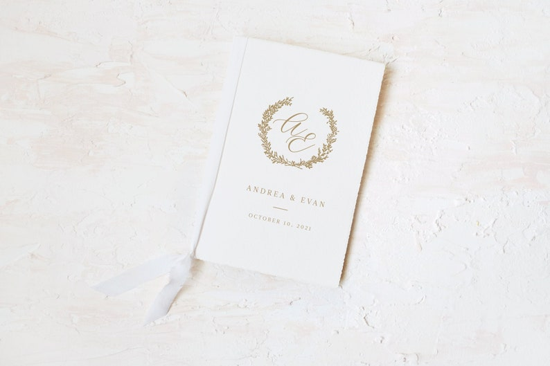 Monogram Handmade Paper Wedding Day Card and Vow Book image 1