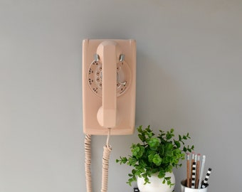 Rotary phone wall telephone working rotary dial wall mount