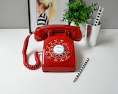 Rotary phone red rotary phone working rotary telephone red retro phone rotary dial desk phone