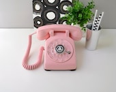 Vintage rotary phone working rotary dial telephone pink retro phone rotary dial desk phone in pink vintage phone pink phone