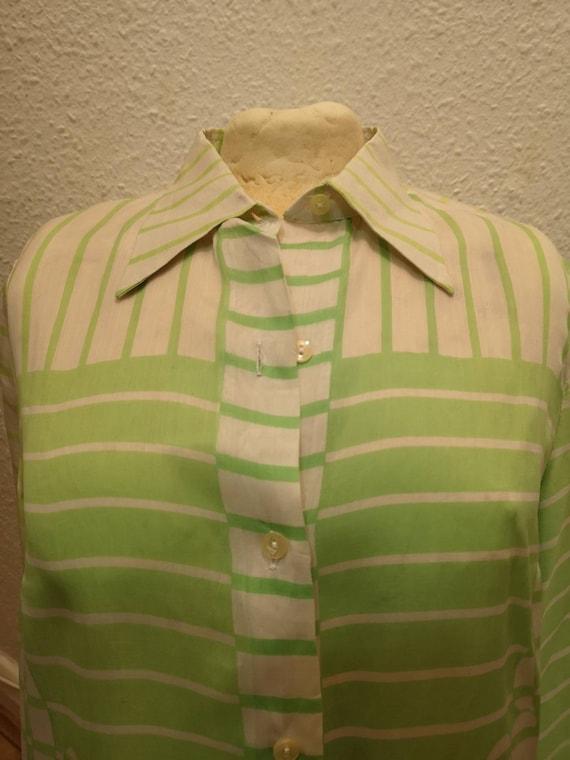 Authentic vintage ladies Lanvin green/white silk … - image 3